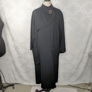 Vintage Salvatore Ferragamo Black Long Wool Coat